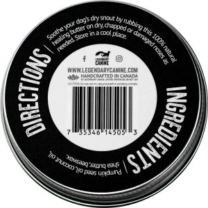 legendary canine 100% natural snout butter for dogs back of product